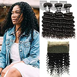 360 Lace Frontal with Bundles 16 14 12+10inch 7A Brazilian Deep Wave Virgin Hair with Frontal Closure Pre Plucked 360 Lace Frontal with Baby Hair Natural Black Color