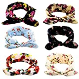 Yeshan Women and Girls Stretach Rabbit Bow Headbands/Bandana/Turban/Headwrap Knotted Yoga Hairband,pack of 6