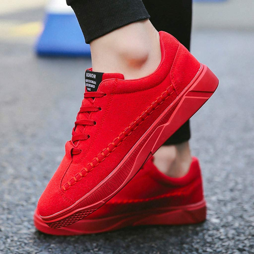 Fashion! Men Casual Shoes Mens Solid Lace-Up Sport Shoes Sneakers Board Shoes for Running Walking Work Summer