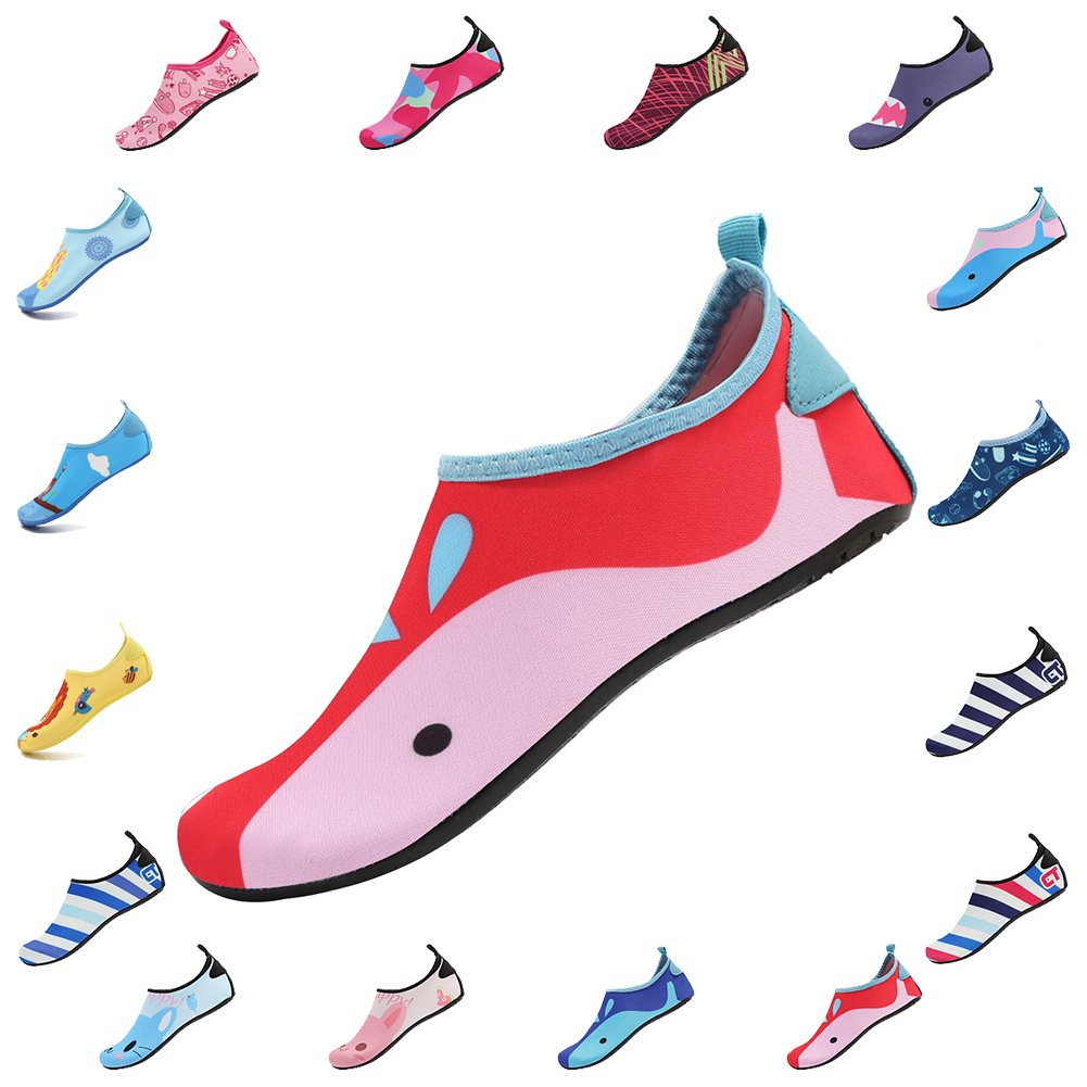 CIOR Kids Water Shoes Skin Barefoot Shoes Quick-Dry Mutifunctional Aqua Socks for Beach Pool Swim Surf Shoes,HT01,Red01,24.25