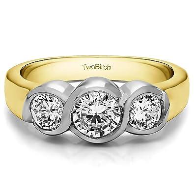 Amazon.com: 2.25Ct Three Stone Bypass Bezel Set Wedding band in Two ...
