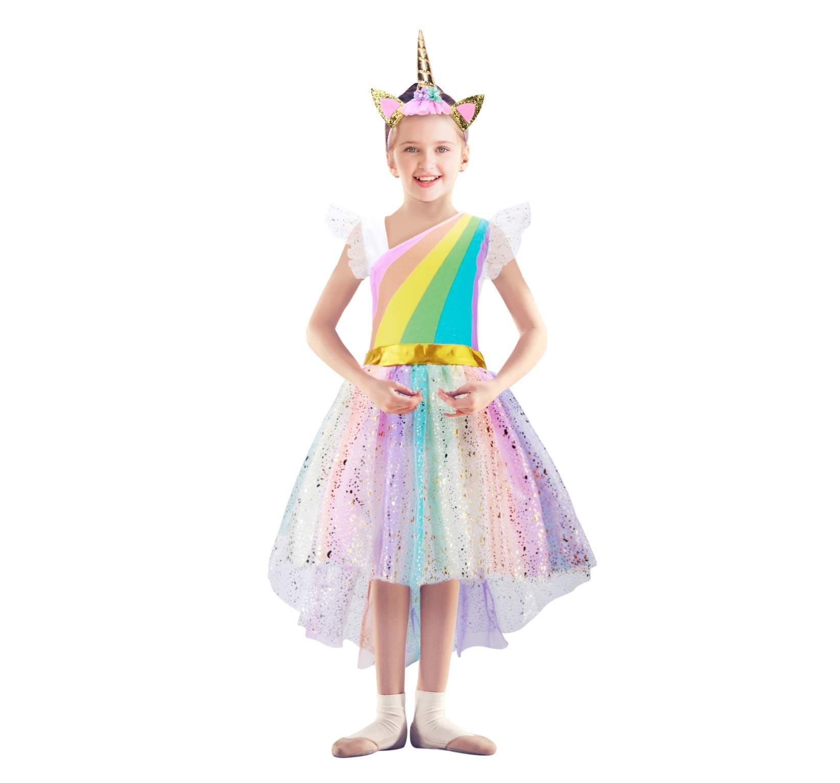 Girls Unicorn Costume Set Princess Rainbow Dress up for Party Supplies Outfits 7