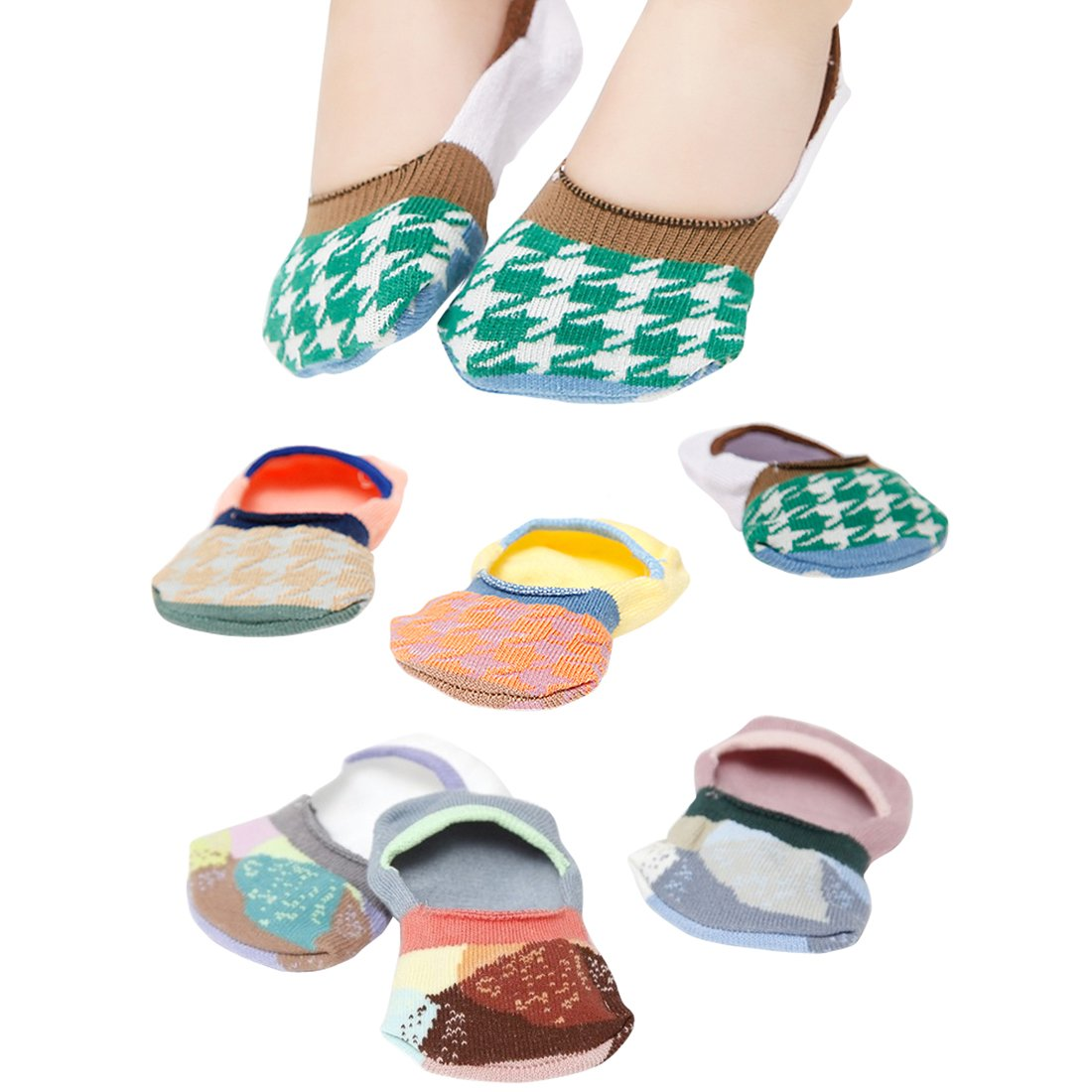 S 6 Pairs Cotton Anti-slip No Show Baby Infant Toddler Socks