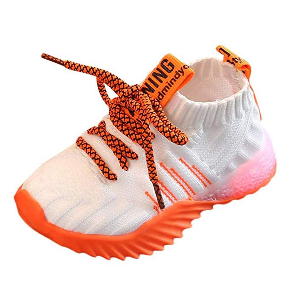Kids LED Slip on Sneakers Light Up Flashing Sneakers Girls Boys Knit Comfortable Fashion Walking Shoes (Toddler/Little Kid) White by KINGLEN Baby shoes