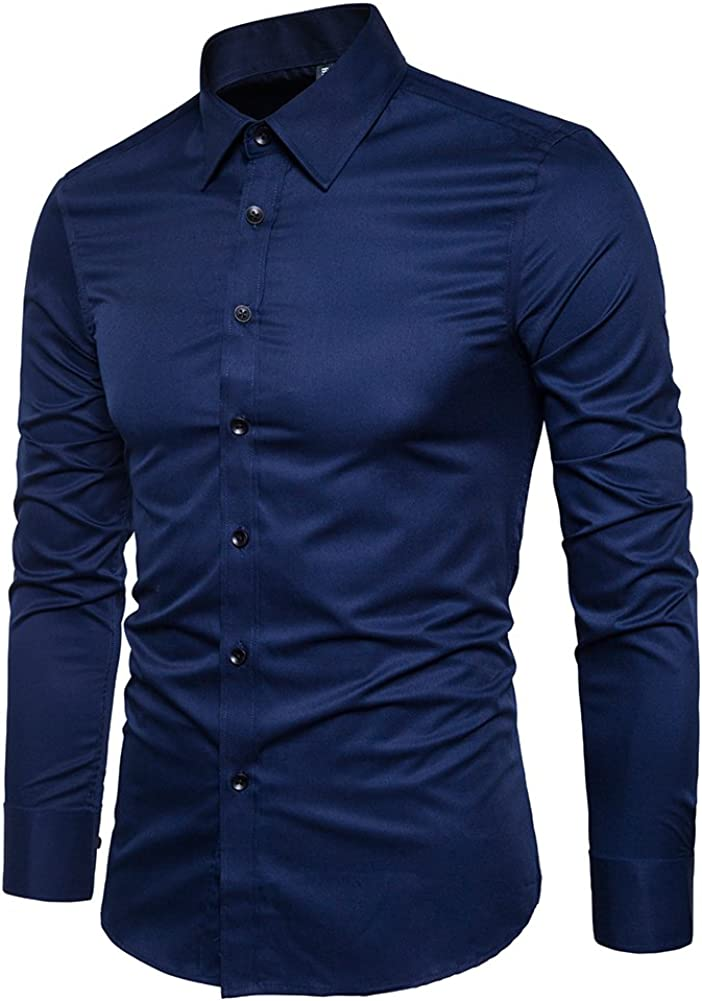 Manwan walk Mens Slim Fit Business Casual Cotton Long Sleeves Solid Button Down Dress Shirts