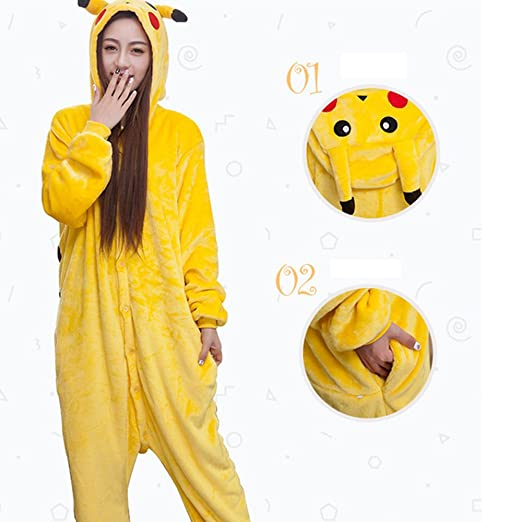 Diseño de Pikachu Glantop Kigurumi pijamas para adultos ...