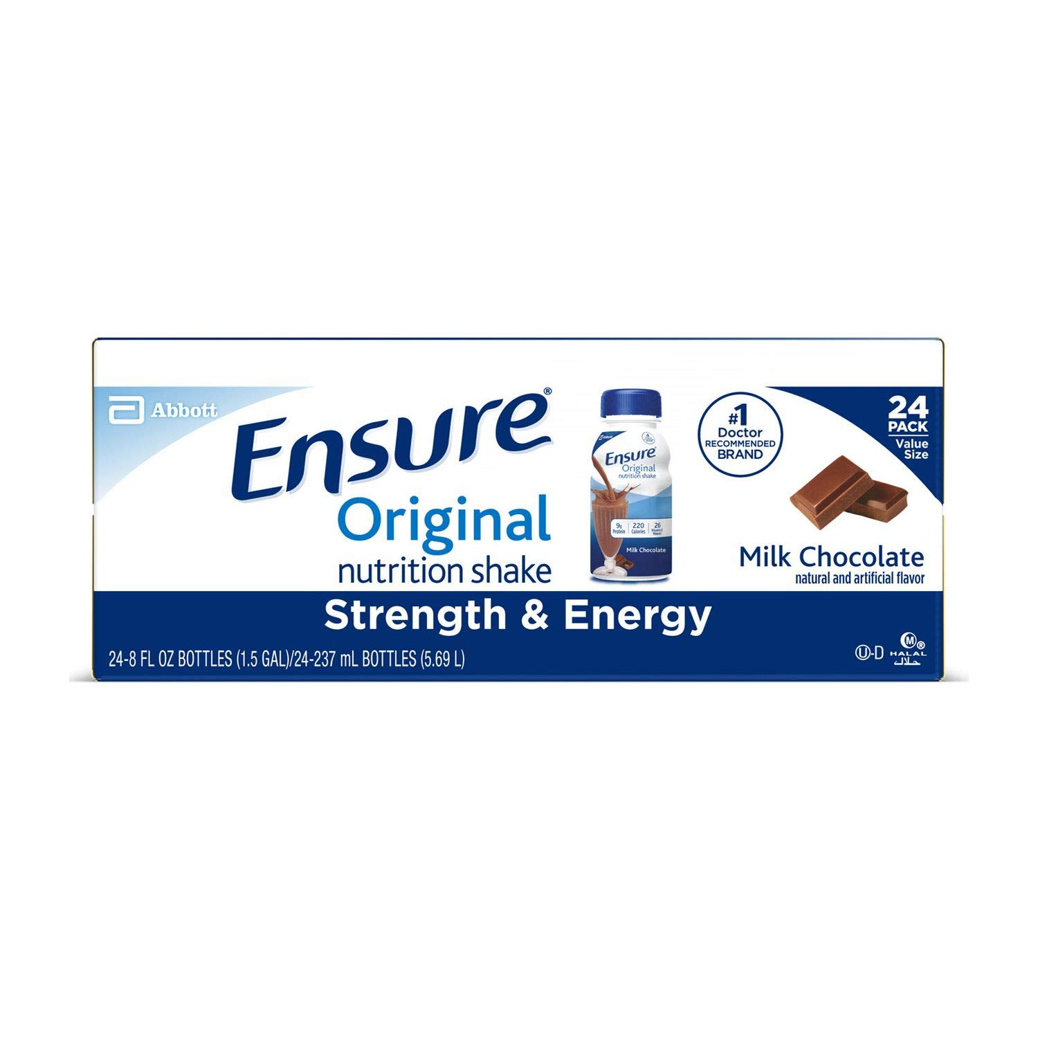 Ensure Original Nutrition Chocolate Meal Replacement Shakes with 9g of Protein 8 fl. oz, 24 ct. (pack of 3) A1