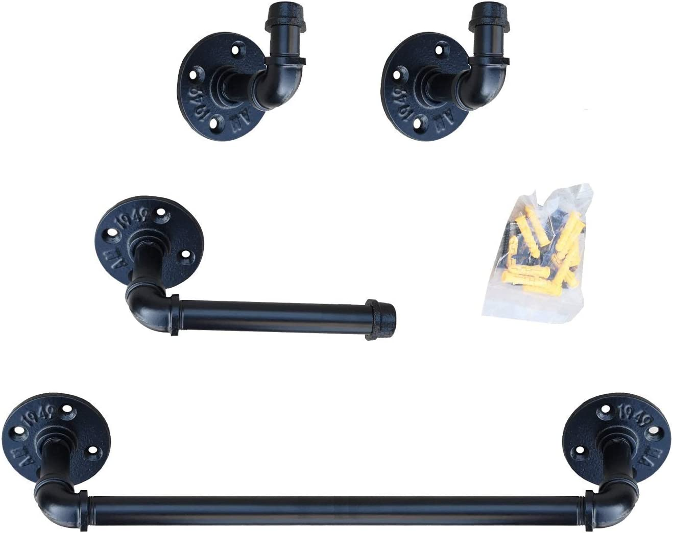 My Rustic Industrial Pipe Bathroom Hardware Fixture Set Heavy Duty DIY Wall Mount Accessories Kit Includes Robe Hook,18 Inch Towel Bar and Toilet Paper Holder,Coated Finish: Home & Kitchen