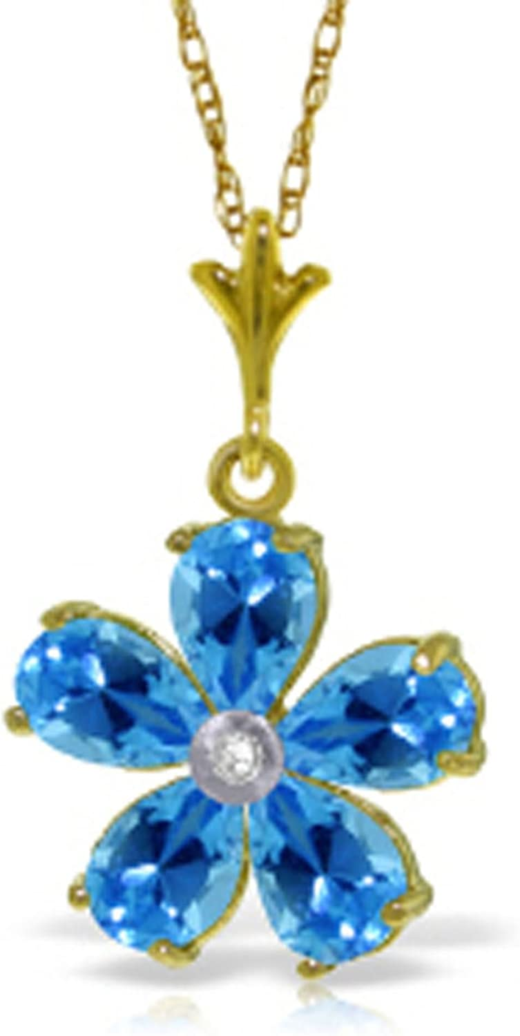 ALARRI 2.22 CTW 14K Solid Gold Necklace Natural Blue Topaz Diamond with 18 Inch Chain Length
