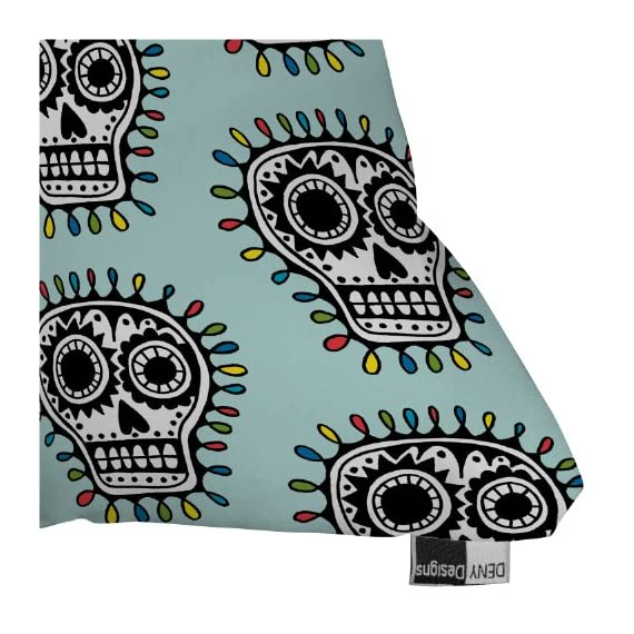 Deny Designs Andi Bird Sugar Skull Fun Aqua Throw Pillow, 18 x 18 - Printed on Front & Back Premium polyester fill with a sewn closure Spot clean with mild detergent - living-room-soft-furnishings, living-room, decorative-pillows - 61GWsxqcHBL. SS570  -