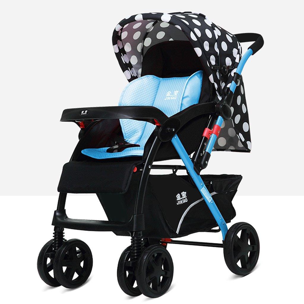 HAIZHEN マウンテンバイク 赤ちゃんのベビーカーは座る/折りたたみ可能なショックを起こすことができます二方向EVAフォーム四輪二方向カートトロリー調整サンシェード日よけ日よけ日焼け防止日焼け止めベビーキャリッジ 新生児 B07DL331J4 青 青