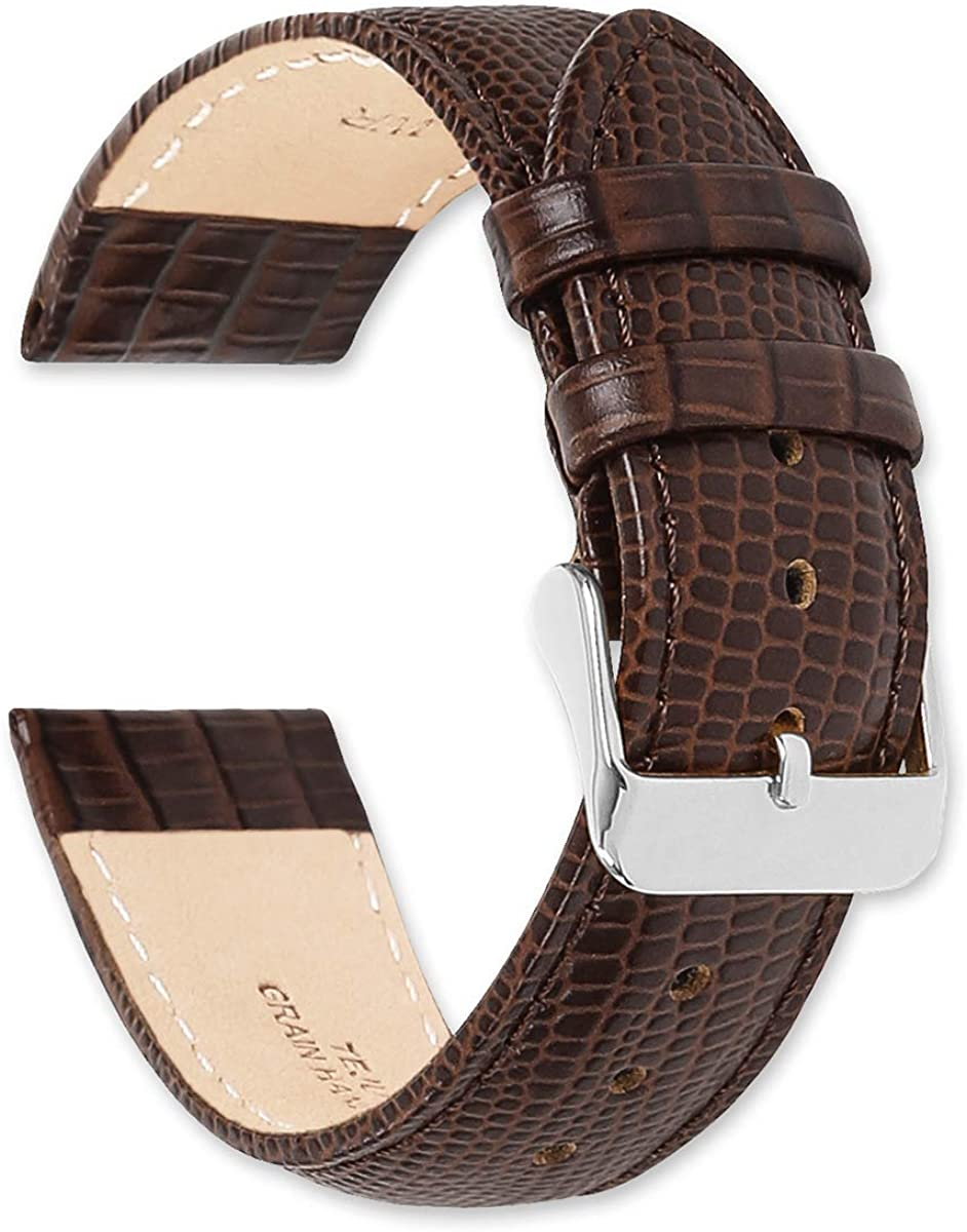 deBeer Leather Watch Strap - Teju Lizard Grain – Choose Color - (Sizes – 14mm, 16mm, 18mm, 19mm, 20mm, or 22mm)