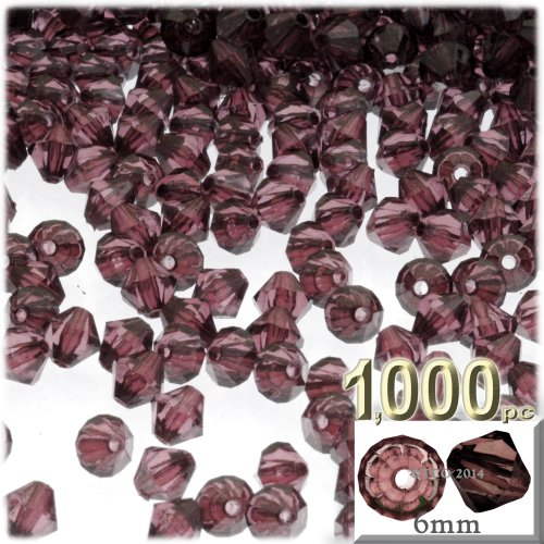 The Crafts Outlet, 1,000-pc Acrylic Bicone Beads, Faceted, 6mm, (Acrylic 6 Mm Bicone)