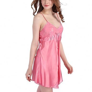 Womens Lace Nightgowns Faux Silk Spaghetti Straps Pijamas Mujer Summer Sleepwear Sleepshirts Women Sexy Underwear Pink