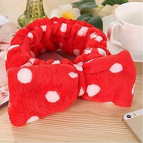 jooks Mujer lavado elástica lazo cabeza toalla de baño toalla moda coral fleece Bowknot Hairlace para