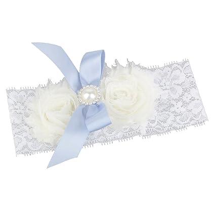 ULTNICE Liguero para Mujer - Encaje Blanco Perla Flor Estilo