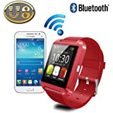 Yuntab Mobile U8 Watch SmartWatch Bluetooth 3.0 Silicone Wristband for Apple iOS smartphone iphone 4 / 4S / 5 / 5C / 5S / 6 Android Samsung S2 / S3 / S4 / Note 2/3 Note HTC Nokia (Red)