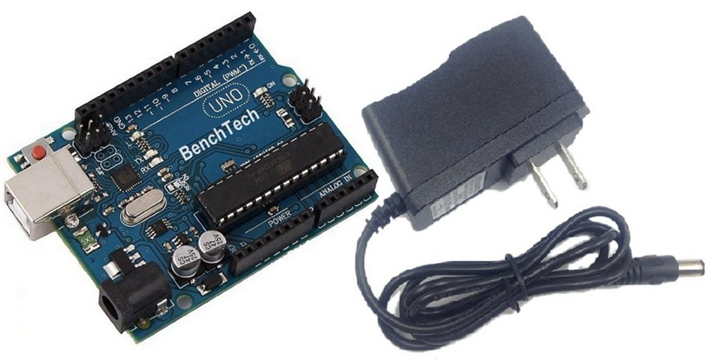 BenchTech UNO R3 Board ATmega328P AVR Gift Kit for Arduino and 9V 1A Power Adapter