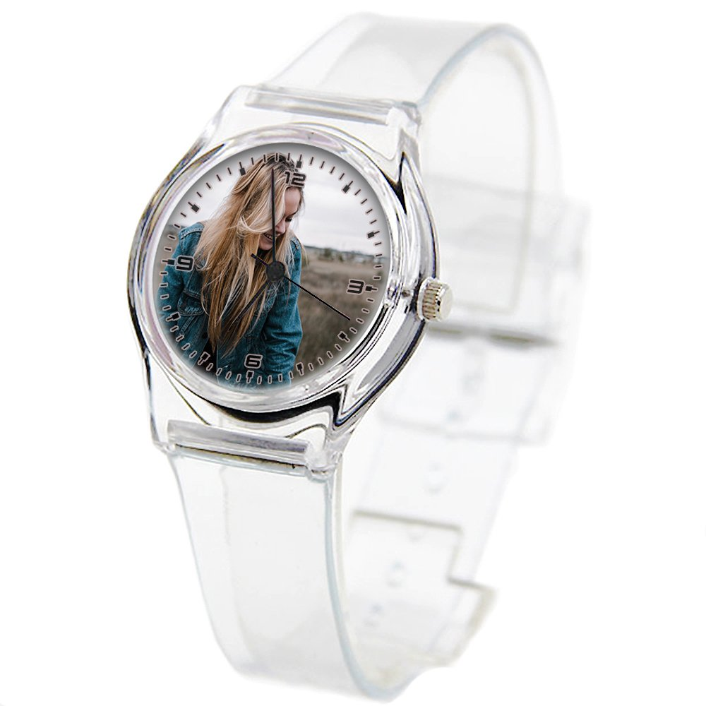 Personality Transparent Wristwatch Transparent Strap Summer Decoration Woman Child teacher Teen Young Girls Children Kids Watches Colorful Flower-343.Clouds Sky Jacket People Grass Lady Woman Denim by Girlsight