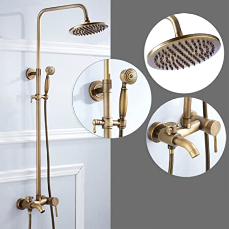 Homieco Antique Brass Wall Mounted Thermostatic Bathroom Shower
