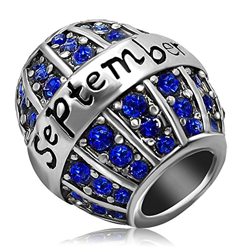 JMQJewelry Birthday Charms Bead For Bracelets (Blue, September Birthstone) (Crystal Pandora Charms)