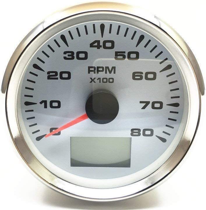 ELING Waterproof Tachometer 0-8000RPM Tacho Gauge for Car Motorcycle Boat Yacht with 8 Colors Backlight 85mm