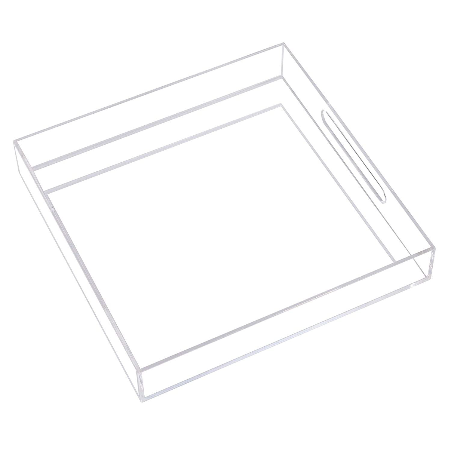 Clear Acrylic Tray Serving Tray with Handles for Coffee,Breakfast,Tea,Food,Decorative Organiser (12