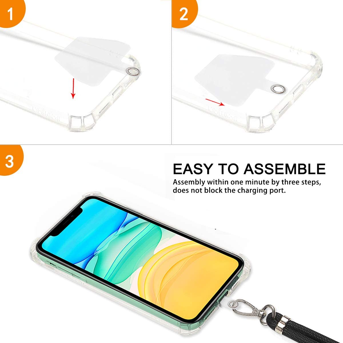 Universal Crossbody Cell Phone Lanyard with 2 Pack Phone Safety Tether Connector takyu Phone Lanyard