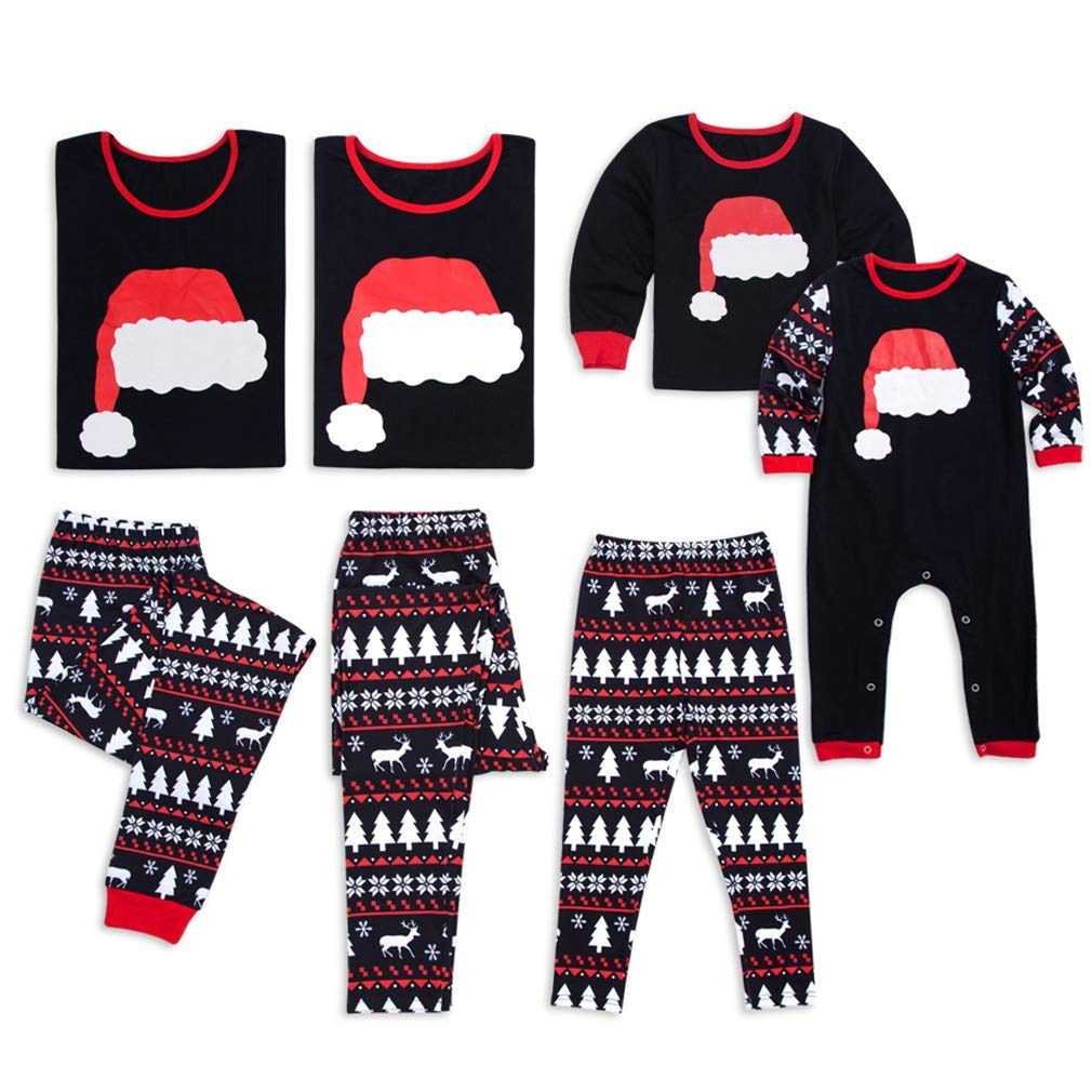 Vanbuy Christmas Family Matching Pajama PJ Sets Holiday Family PJs Santa Hat Reindeer Print Sleepwear