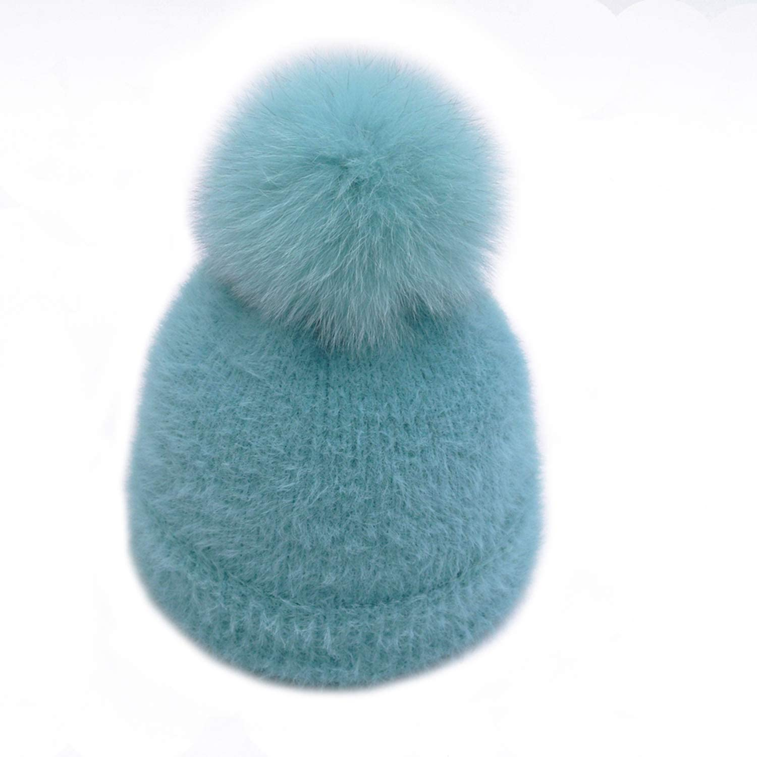 2018 Winter Imitation Mink Fur Knitted Lady Skullies Caps with Real Fox Fur Ball Female Warm Hat