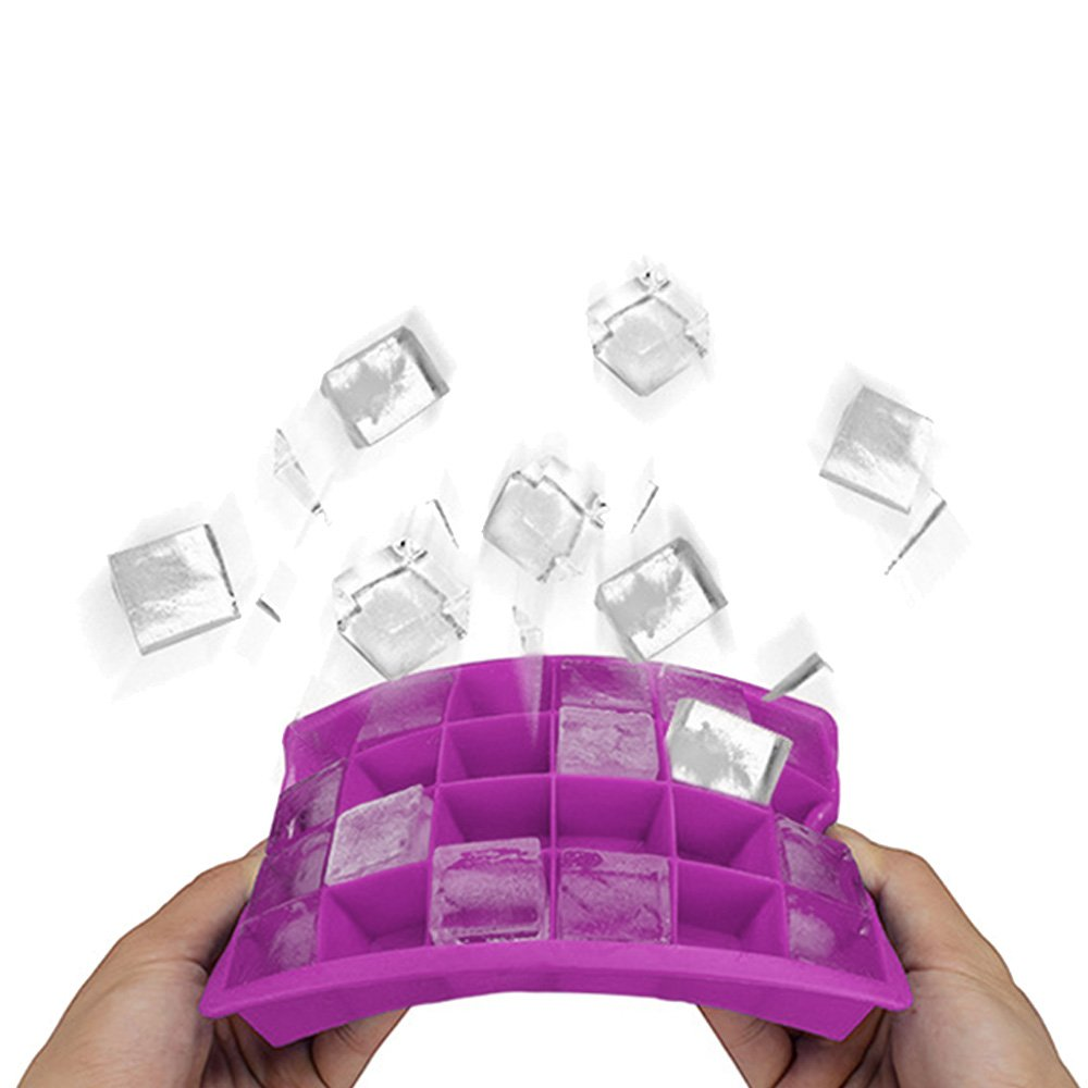Ice Cube Trays,Guardians 24 Cube Food Grade Silicone Ice Tray Molds Easy Release Ice Jelly Pudding Maker Mold (Light Purple-2 Pack)