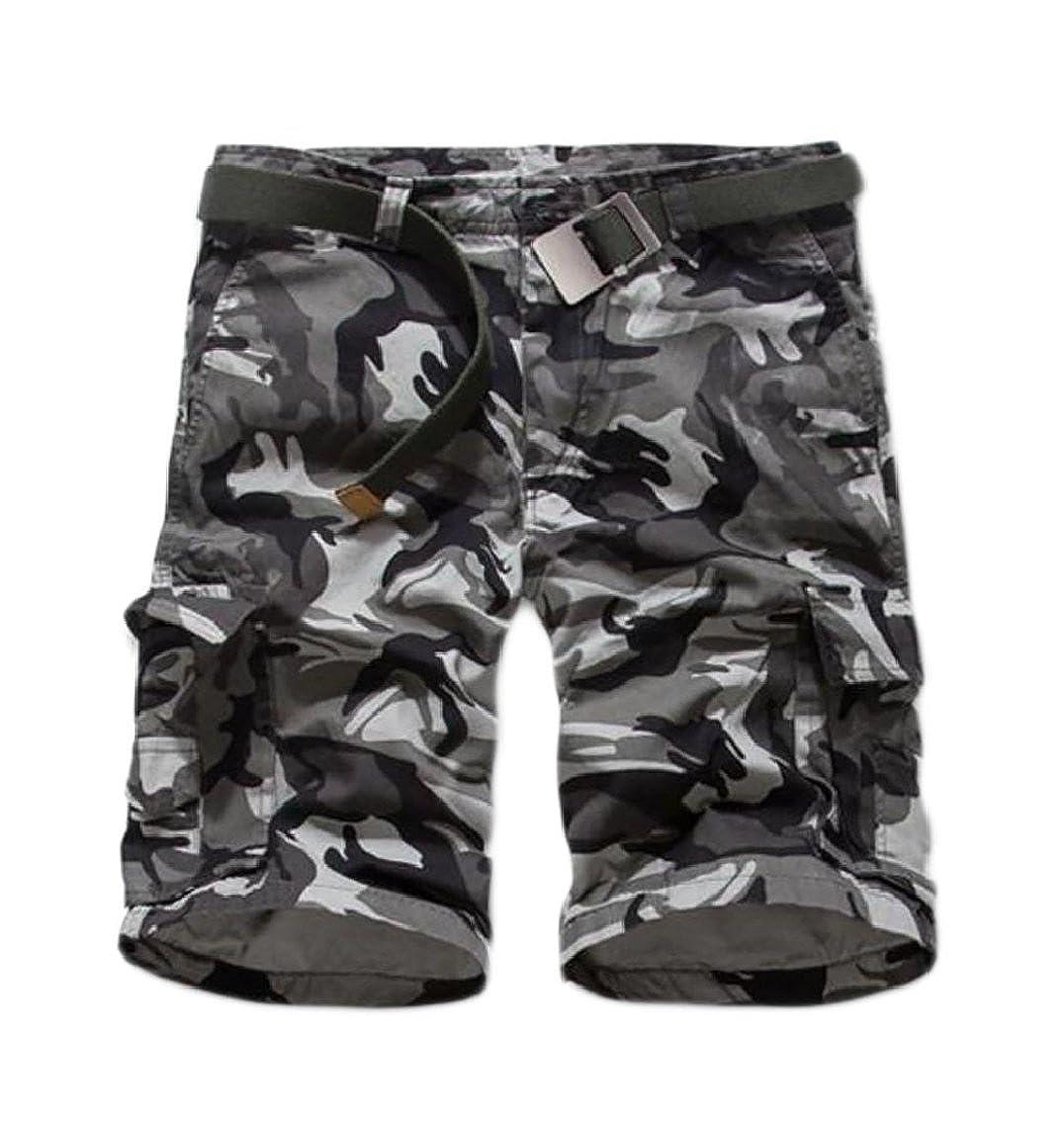 Hilization Men Camouflage Fashion Printed Leisure Washing Multi-Pocket Cargo Pants