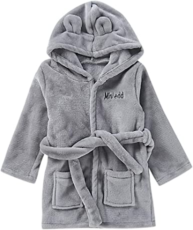 Girls Boys Baby Dressing Gown New Kids Unisex Plain Bath Robe Ages 6-24 Months
