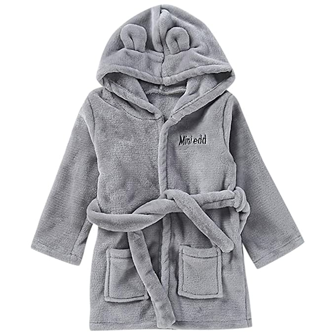Kids 100/% Cotton Bathrobe Hooded Blue Terry Towelling Shawl Collar Bath Robe Ages 2-13