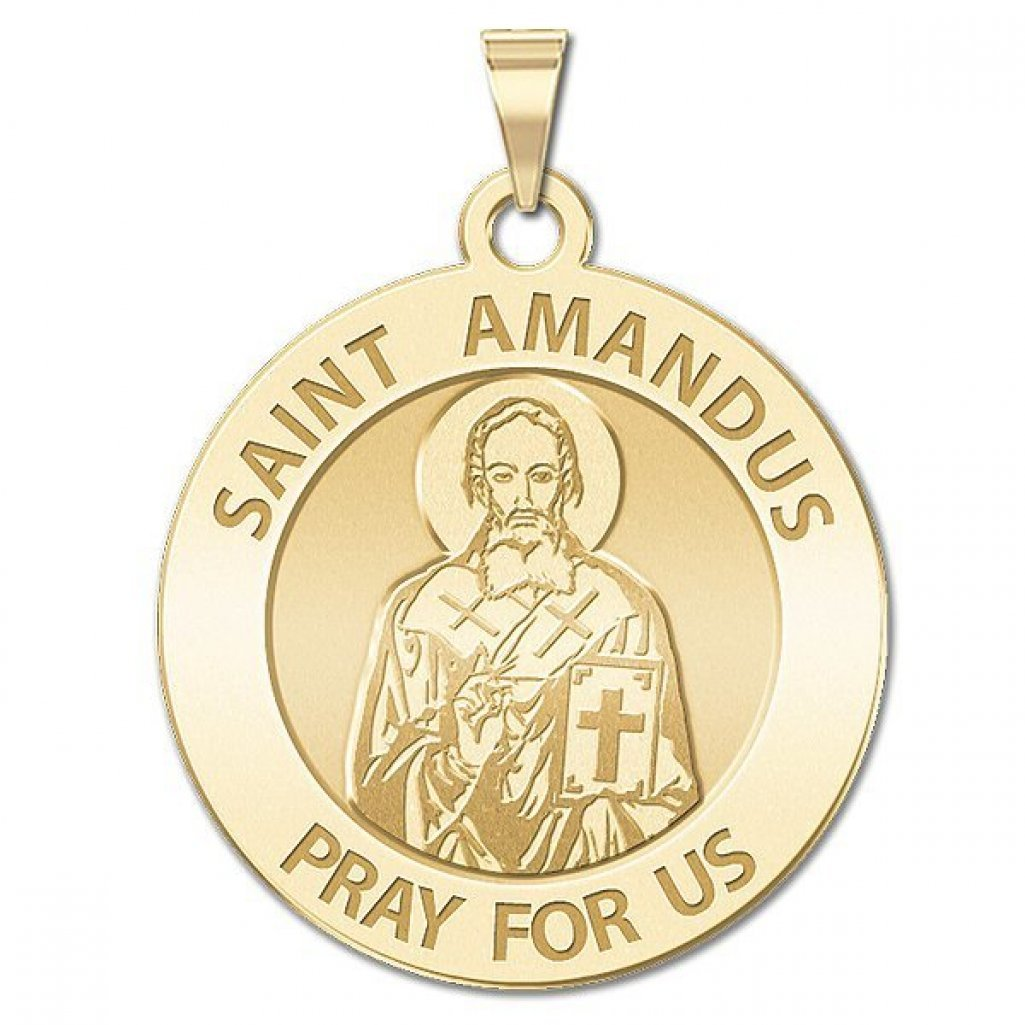 Saint Amandus Round Religious Medal - 2/3 Inch Size of Dime, Solid 14K Yellow Gold