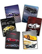 New Generation - Cars - 2 Pocket Folder/Portfolio, 3 Hole Punch - 6 Folders per Pack Heavy Duty UV Glossy Laminated Folders.