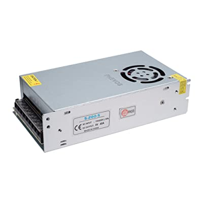 PHEVOS 5V 200watt DC Universal Regulated Switching Power Supply Brass Material Transformer AC 110V to DC 5 Volt for CCTV, Radio, Computer Project, led Pixel Lights, led Display Board(5V40A: Home Audio & Theater [5Bkhe1505897]