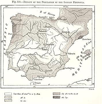 Densidad de población de la península ibérica. España Portugal Mapa de Bosquejo 1885 - Mapa Antiguo Vintage - Mapas Impresos de España: Amazon.es: Hogar