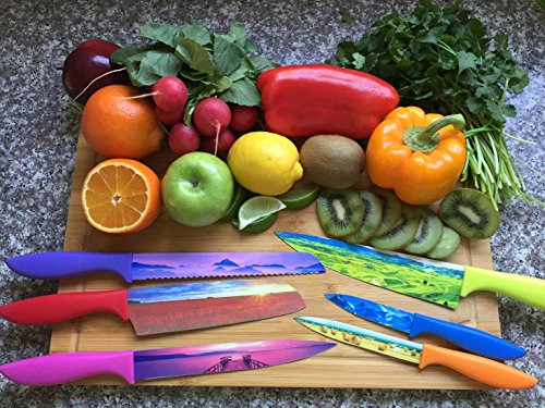 Set of 6 Landscape Kitchen Chef's Knives - Beautifully Designed Razor-Sharp Premium Gift Artisanal Cutlery Set With Non-Stick Surface Finish - By Golden Coast Cutlery