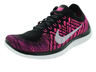 Nike Women's Free 4.0 Flyknit Running Shoes Black/Pink Pow/Fuchsia Flash