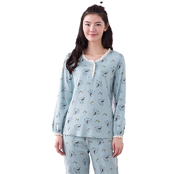 Women pyjamas set ,nightwear lounge suit cartoon animal print pyjamas (M, Blue)