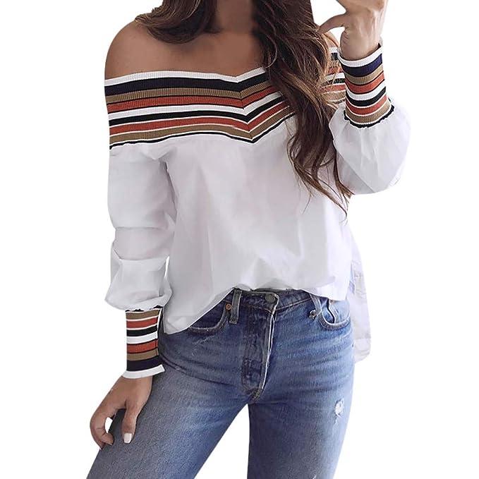 Overdose Blusa De Las Mujeres Sudadera SúPer Camisa De Moda Casual Drop Hombro A Rayas De
