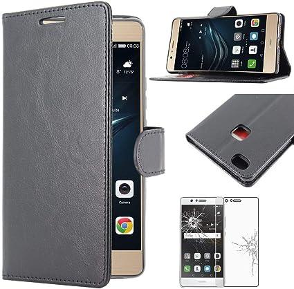 ebestStar - Coque Compatible avec Huawei P9 Lite, G9 Lite Etui PU Cuir Housse Portefeuille Porte-Cartes Support, Noir Film Verre Trempé [NB: Lire ...