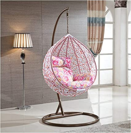 Lejzh Rattan Hanging Swing Chair Weave Egg Patio Garden Chair With Cushion 200kg Capacity Outdoor Garden Furniture Pink Amazon Co Uk Kitchen Home