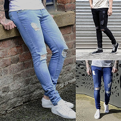 Buy Theshy Jeans Men S Super Skinny Stretch Denim Biker Jeans Destroyed Taped Slim Fit Pants White S Polyester At Amazon In