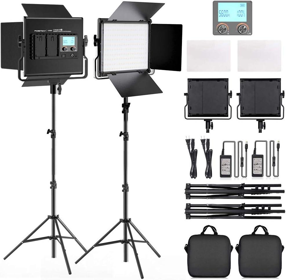 "FOSITAN 2 Kits Bi-Color LED Video Light LCD Display Video Lighting Kit CRI 96+ 3200K-5600K Dimmable SMD LED Light with U Bracket, Barndoor, 79"" Light Stand for Studio Photography Video Shooting"