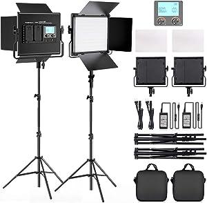 FOSITAN 2 Kits Bi-Color LED Video Light LCD Display Video Lighting Kit CRI 96+ 3200K-5600K Dimmable SMD LED Light with U Bracket, Barndoor, 79