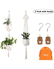 Sfee 2 Pack Macrame Plant Hangers, Handmade Natural Cotton Rope Plant Flowers Holder with Ceiling Hooks Odorless Not-Rotten Durable for Indoor Outdoor Garden Patio Balcony Ceiling Decorations + Tag
