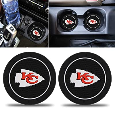 Fast & Furious 2PCS Car Cup Holder Coaster for Kansas City Chiefs, 2.8 Inch Car Interior Accessories Durable Non Slip Silicone Logo Cup Mat for All Vehicles (for KC): Automotive