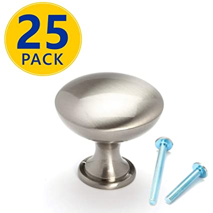 25 Pack | Solid Brushed Nickel Round Cabinet Knobs: Modern Euro Style  Stainless Steel Finish